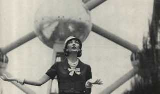 A Vogue model poses before the Atomium