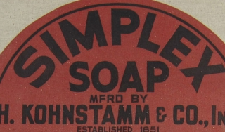 Detail of a burlap sack for H. Kohnstamm and Company's Simplex Soap. When recently laundered clothes started to disintegrate in the early 20th century, angry customers turned to laundries, which in turn looked to soap manufacturers, such as Kohnstamm, for
