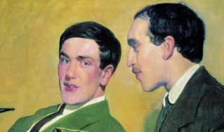 Portrait of Soviet scientists Petr Kapitza (left) and Nikolai Semenov by Russian painter Boris Kustodiev (1921). Both scientists were later awarded Nobel Prizes, Semenov for chemistry in 1956 and Kapitza for physics in 1978.