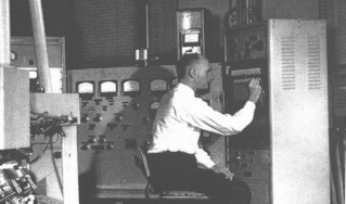 Frank Field working with an ionization instrument at Humble Oil in the 1950s