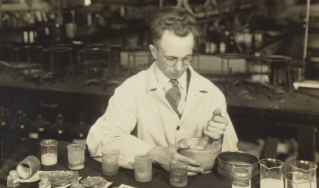 C.C. Dennis using mortar and pestle at Dearborn laboratory