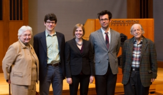 the Institute scholars pose with Eugene Garfield and June Felley, 2014.