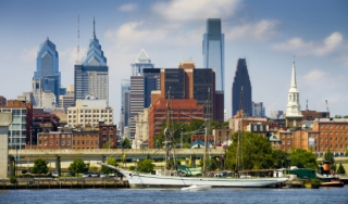 Old City Philadelphia skyline view from the water