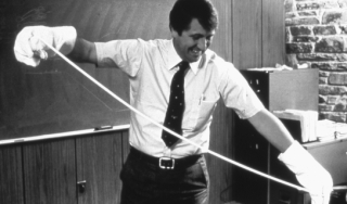 Robert W. Gore demonstrating the expansion of ePTFE, ca. 1982.