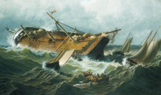 Painting of shipwreck in rough seas
