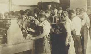Chemistry students in laboratory, circa 1910