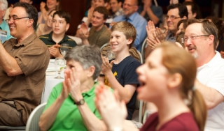 Visitors to the Science History Institute applaud science demonstrations