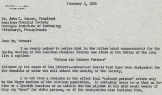 Letter from Percy Julian to ACS president 1956