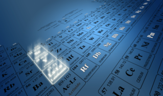 Periodic table showing rare earth elements