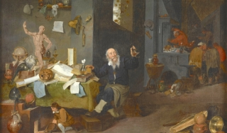 Oil painting of an alchemist in his workshop in the 1600s