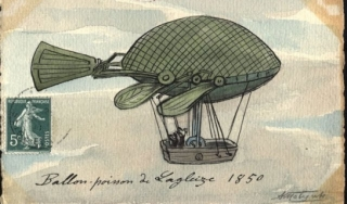 Early Hot-Air Ballon French Postcard