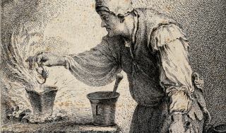 A 16th-century engraving of an alchemist adding a scorpion to a mixture. (Wellcome Library)