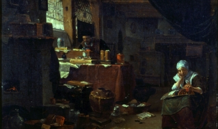 The Alchemist in His Study with a Woman Making Lace