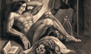 A detail of the inside cover art from the 1831 edition of Mary Shelley's Frankenstein.