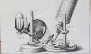 "Image of microscope from Robert Hooke's ""Micrographia : or, Some physiological descriptions of minute bodies made by magnifying glasses,"" 1665."