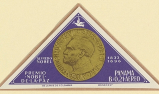 Panamanian postage stamp commemorating Alfred Nobel and the Nobel Prize
