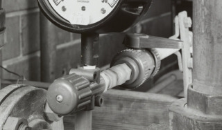 Close-up view of valves, pipes, and fittings