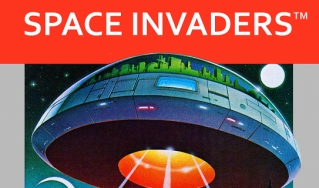 A cover for the 1980 Atari 2600 game Space Invaders.