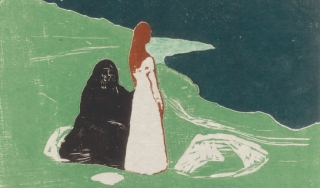 Color woodcut of two women on desolate shore