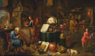 Portrait of alchemist in his lab