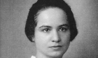 Black and white photo portrait of woman