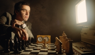 Garry Kasparov plays a computer in chess