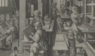 Woodcut of medieval printers at work