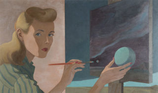 Surrealist painting of artist drawing planet on canvas