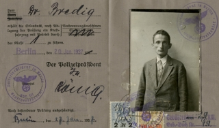 Interior of old German ID card
