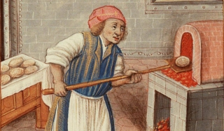 Color illustration of a baker in medieval garb