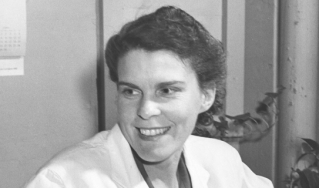 black and white photo of a woman