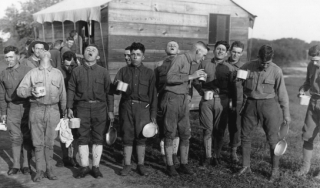 Soldiers at Camp Dix during the Spanish flu outbreak in 1918