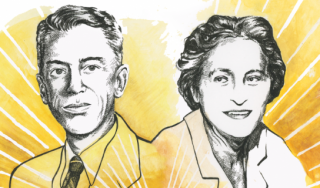 Illustrated portraits of Hoyt Hottel and Maria Telkes
