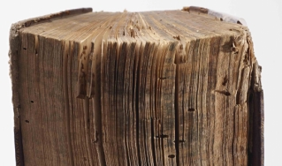 18th century book gnawed by bookworms