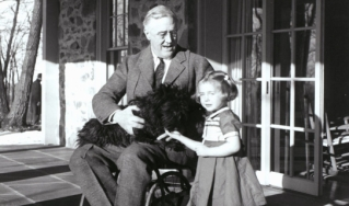 Photo of FDR in a wheelchair
