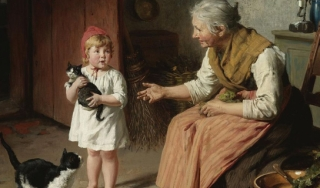 Portrait of child, grandmother and two cats