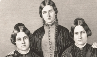 Portrait of the Fox sisters, spiritualists in the mid 19th-century.