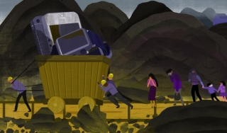 Miners Hauling Electronics Amidst Pollution