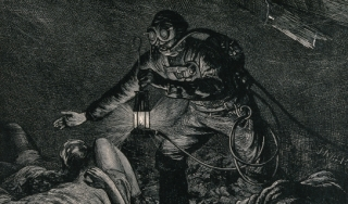 A man in a mine, wearing breathing apparatus and holding a lantern, finds asphyxiated miners. Wood engraving, ca. 1900.