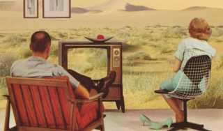 Vintage poster of people watching TV