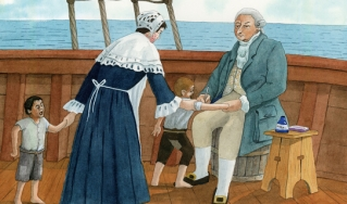 Physician inoculates boy with smallpox vaccine aboard ship