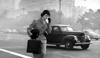 Woman irritated by smog in LA in the 1950s