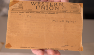 Closeup of telegraph sent by Eleanor Roosevelt