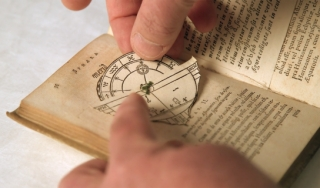 Close up of Johannes de Sacrobosco's astronomy textbook, De Sphaera Mundi (On the Sphere of the World).