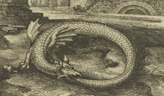 Engraving of dragon eating his own tail