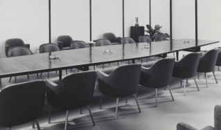 Boardroom, 1960s, with ashtrays
