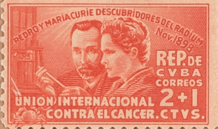 Cuban postage stamp commemorating Pierre and Marie Curie's discovery of radium
