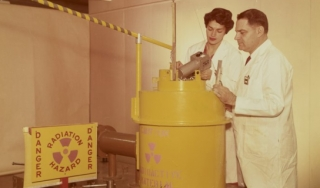 Laboratory staff working with radioactive material