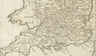"""Map of England from """"Britannia"""" published in 1407"""