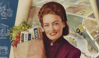 Color print advertisement for the Dow Chemical Company depicting a woman holding a bag of groceries